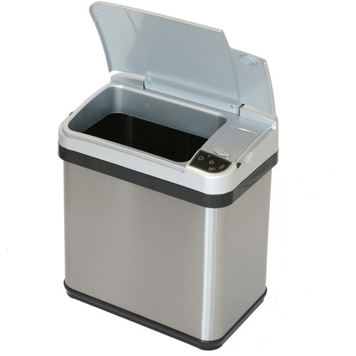 iTouchless 2.5 Gal. Stainless Steel Touchless Multifunction Sensor Trash Can with Deodorizing Carbon Filter Technology