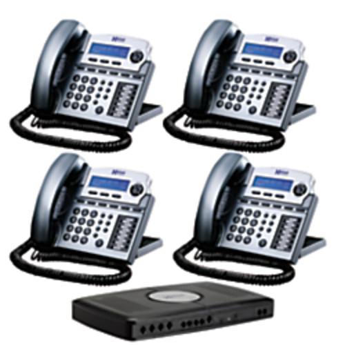 XBLUE Networks X16 Corded Telephone Bundle, Titanium Metallic, Set of 4