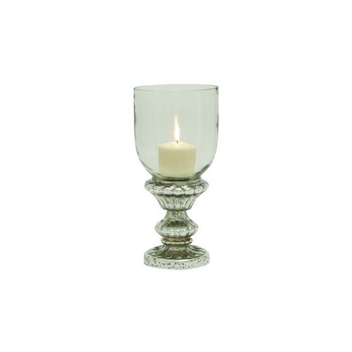 Silver Glass 14-inch Pedestal Hurricane Goblet Candle Holder