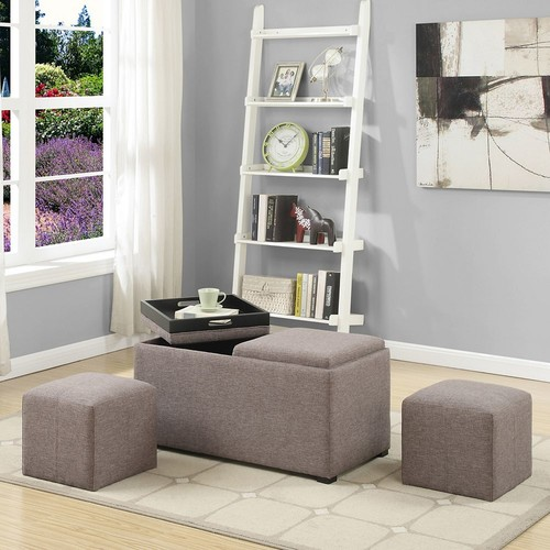 Simpli Home - Avalon Storage Ottoman Set (5-Piece) - Fawn Brown