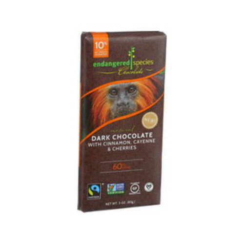 Endangered Species Chocolate Natural Dark Chocolate Bars Cinnamon Cayenne and Cherries 3 OZ, 12CT