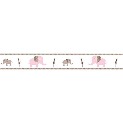 Sweet Jojo Designs Mod Elephant Wallpaper Border in Pink/Taupe