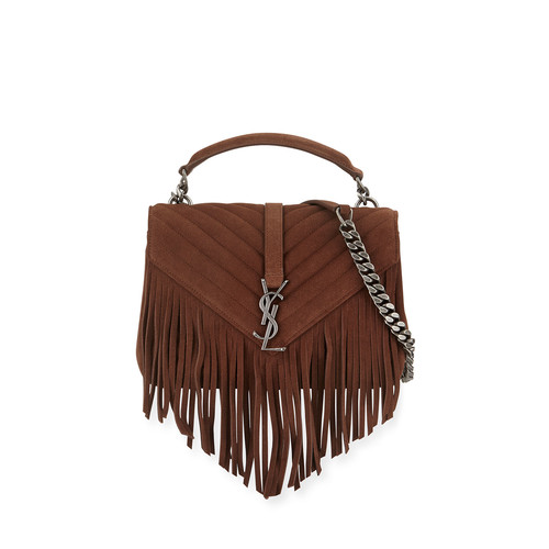 SAINT LAURENT Monogram Suede Fringe Shoulder Bag