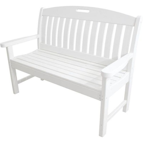 Hanover Avalon 48 in. White All-Weather Patio Porch Bench
