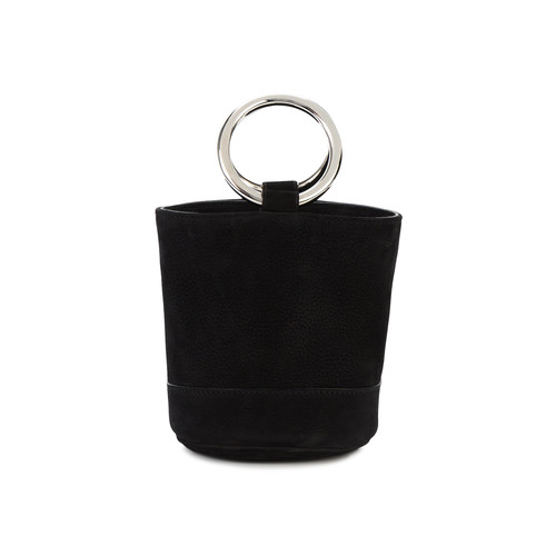 Mini Black Suede Bonsai 15 Bucket Bag