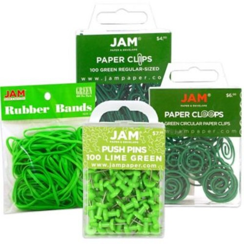 JAM Paper Office Supply Assortment, 1 pack Rubber Bands, Push Pins, Paper Clips, Round Paperclips, Green, 4/pack (3224GROASRT)