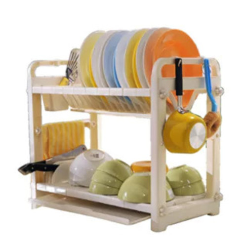 Double Layer Dish Rack - White