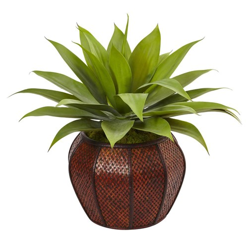 Nearly Natural Indoor Agave Artificial Succulent in Weave Planter