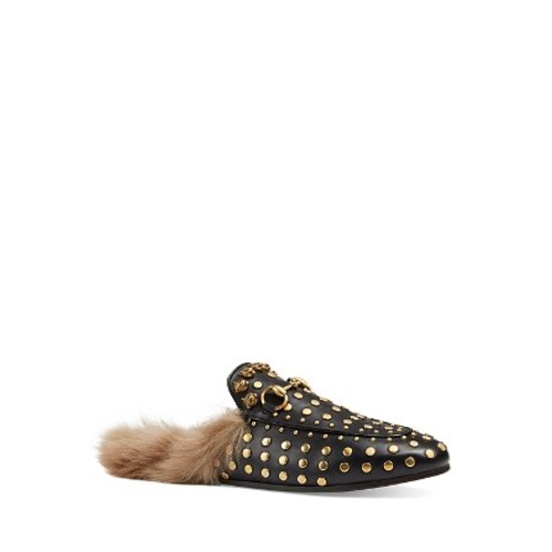 GUCCI Princetown Studded Leather And Lamb Fur Slippers