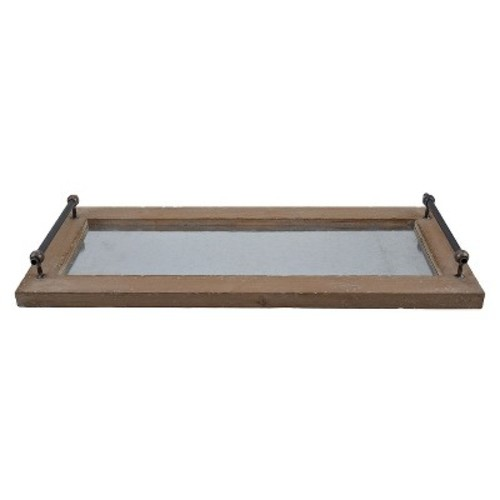 Metal and Wood Tray - Brown