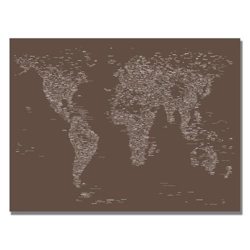 Trademark Global Michael Tompsett 'Font World Map IV' Canvas Art [Overall Dimensions : 30x47]