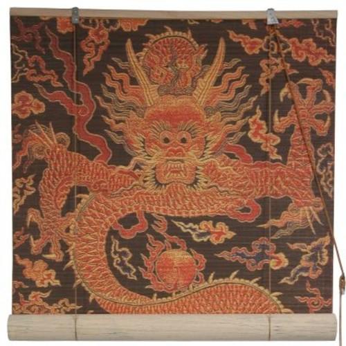 Oriental Furniture Dragon Design Bamboo Roller Blind; 72'' W x 72'' L