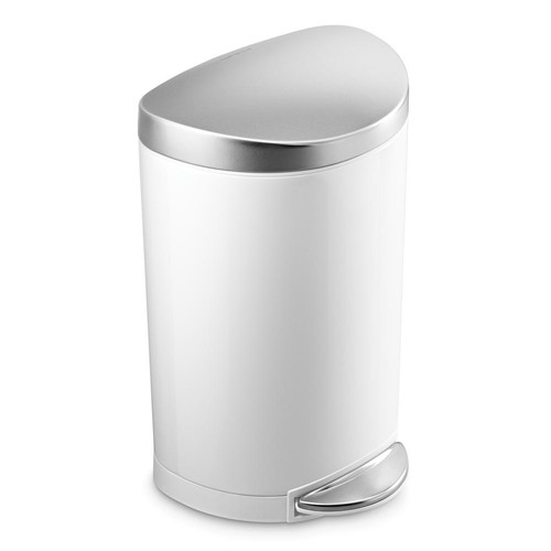 simplehuman 10-Liter White Stainless Steel Semi-Round Step-On Trash Can with Fingerprint-Proof Brushed Stainless Steel Lid