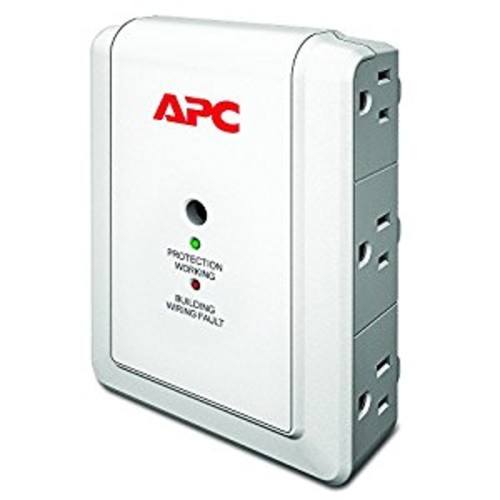 APC 6-Outlet Wall Surge Protector 1080 Joules with Telephone Protection Ports, SurgeArrest Essential (P6WT)