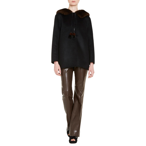 PRADA Wool-Blend Coat W/Mink Fur, Black