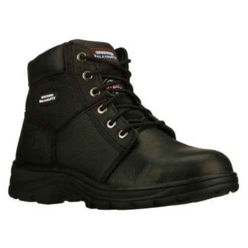 Skechers Workshire Men Size 7 Black Leather Work Boot