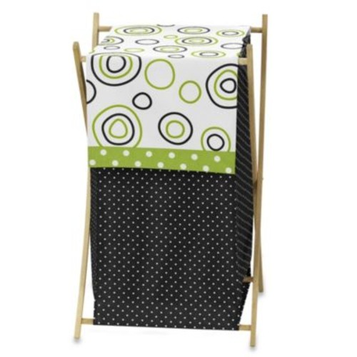 Sweet Jojo Designs Spirodot Laundry Hamper in Lime/Black