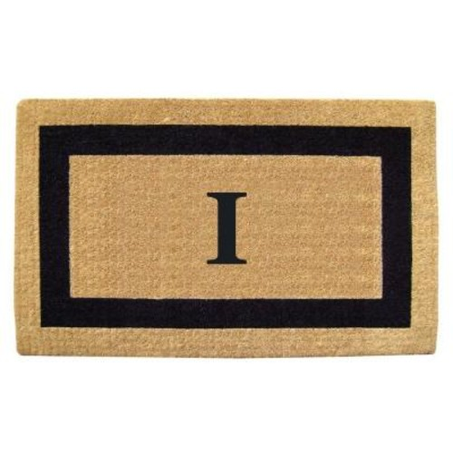 Nedia Home Single Picture Frame Black 22 in. x 36 in. HeavyDuty Coir Monogrammed I Door Mat