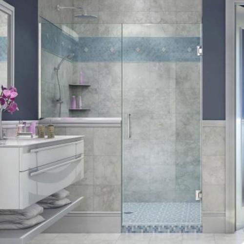 DreamLine Unidoor Plus 59 in. to 59-1/2 in. x 72 in. Frameless Pivot Shower Door in Chrome with Buttress Panel