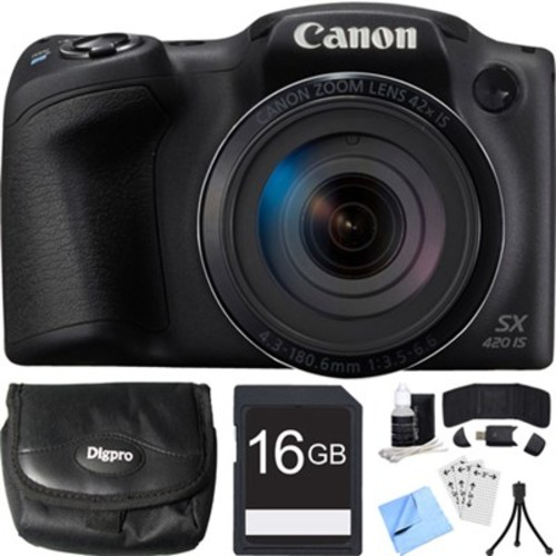 Canon PowerShot SX420 IS 20MP Black Digital Camera + 42x Optical Zoom 16GB Card Bundle