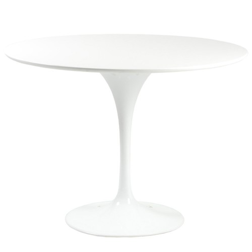 Eur Style Astrid Satin White Lacquer Round Top Dining Table [Round Dining]