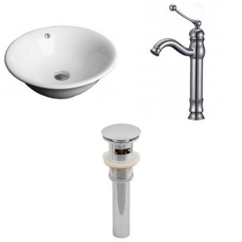 17-in. W Above Counter White Vessel Set For Deck Mount Drilling - Faucet Included