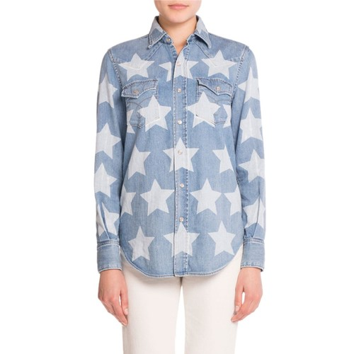 SAINT LAURENT Star-Print Western Denim Shirt, Blue/White
