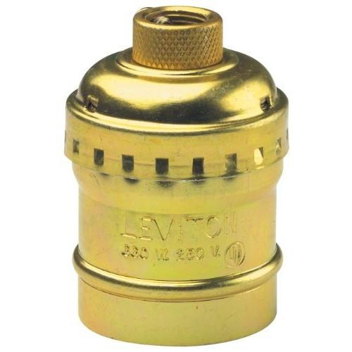 Leviton 9347-PG Medium Base Complete, Aluminum Shell Incandescent Lampholder, Keyless, Single Circuit, 1/8 Ips Tapped Bushing W/Set Screw, Brass