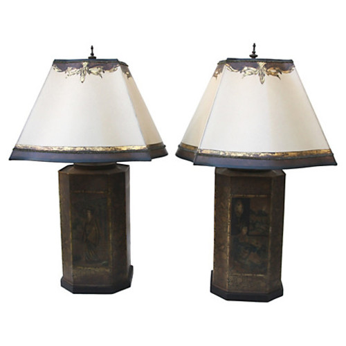 Tole Chinoiserie Lamps, Pair