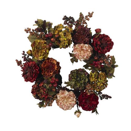 Nearly Natural 22 Autumn Hydrangea Peony Wreath