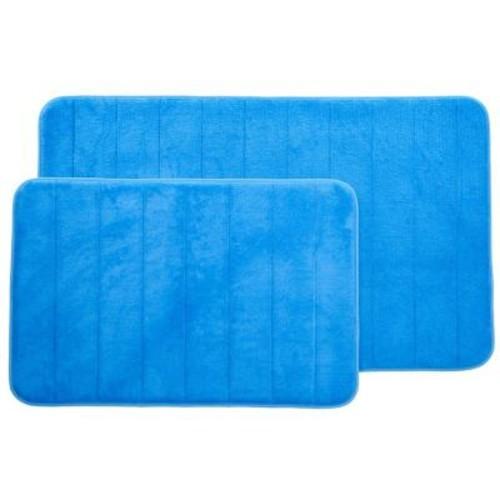 Lavish Home Blue 20.25 in. x 32.25 in. Memory Foam 2-Piece Bath Mat Set