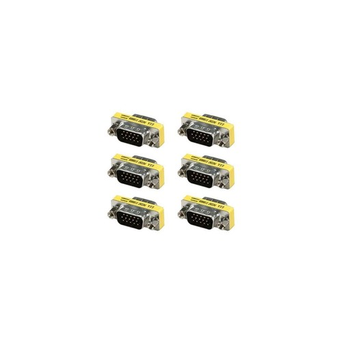 6x DB15 HD D-SUB 15 Pin VGA SVGA Male Mini Gender Changer Coupler Gold Plated
