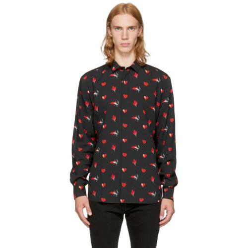 SAINT LAURENT Black & Red Heart Shirt