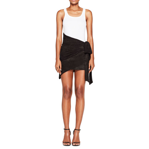 SAINT LAURENT Asymmetric Suede Wrap Skirt