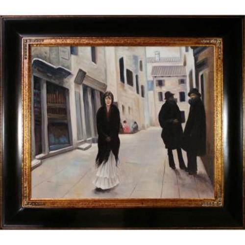 20 in. x 24 in. Street in Venice Hand-Painted Vintage Artwork