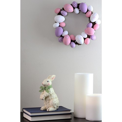 Northlight 10 in. Pastel Pink, Purple and White Floral Stem Easter Egg Spring Grapevine Wreath