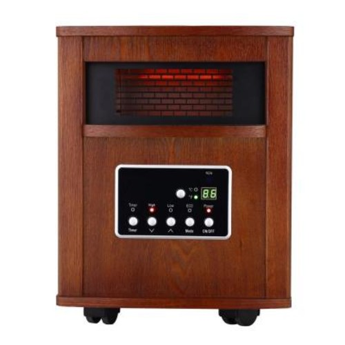 Global Air Products 1500-Watt Large Room Infrared Quartz Heater with Wood Cabinet and Remote
