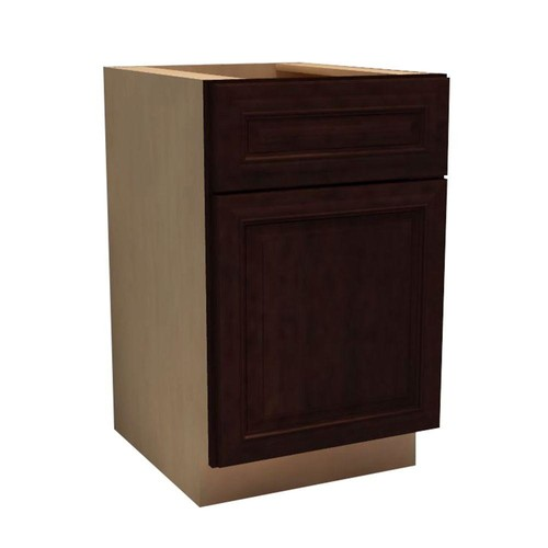 Home Decorators Collection Somerset Assembled 12x34.5x24 in. Single Door, Drawer & Rollout Tray Hinge Left Base Kitchen Cabinet in Manganite