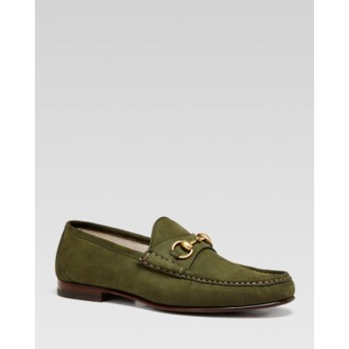 GUCCI Roos Gold Harness Suede Loafers