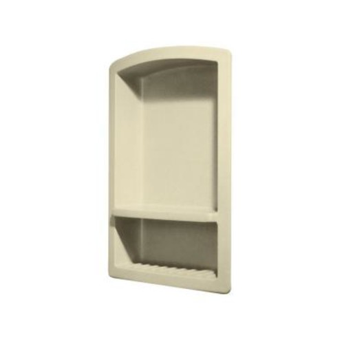 Swan Recessed Wall-Mount Solid Surface Soap Dish and Accessory Shelf in Bone