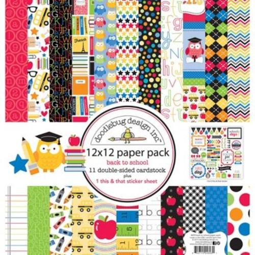 Doodlebug SCH4693 Doodlebug Double-Sided Paper Pack 12