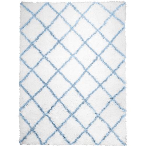 Home Dynamix Carmela Ivory/Blue Trellis Shag 7 ft. 10 in. x 10 ft. 2 in. Indoor Area Rug