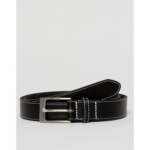ASOS Smart Slim Belt In Black Leather With Contrast Stitching