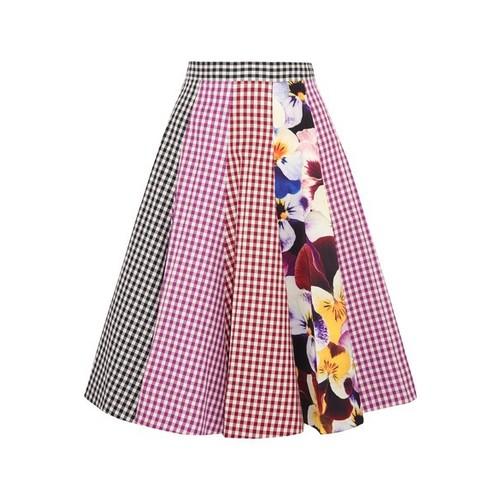 CHRISTOPHER KANE Gingham Godet A-Line Skirt