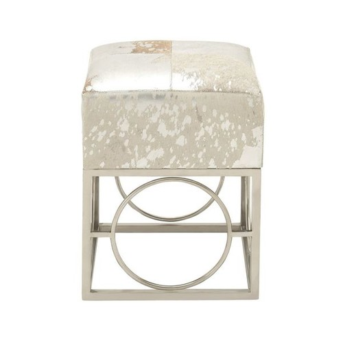 Fascinating Stainless Steel Leather Hide Silver Stool