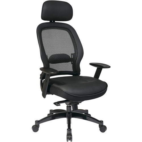 SPACE Seating Breathable Mesh Back and Leather Seat, 2-to-1 Synchro Tilt Control, Adjustable Arms and Lumbar Support, Gunmetal Finish Base, and Adjustable Headrest Managers Chair, Black [Leather Seat, Headrest]
