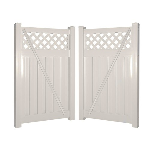 Weatherables Clearwater 8 ft. W x 6 ft. H Tan Vinyl Privacy Double Fence Gate