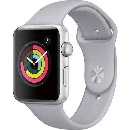 Apple - Apple Watch Series 3 (GPS), 42mm Silver Aluminum Case with Fog Sport Band - Silver Aluminum