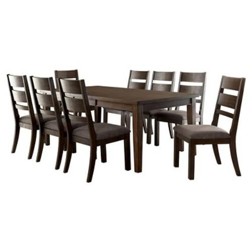 9-Piece Dark Toned Dining Set - Espresso