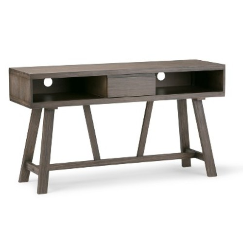 Simpli Home Dylan Driftwood Finish Storage Entertainment Center